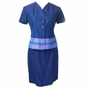 Blue Short Sleeve 2 Pc Suit Embroidery Accent Band